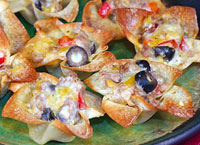 Cheese and Sausage Wonton Flowers