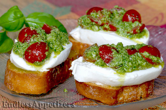 Pesto Cheese Crostini with Cherry Tomatoes Recipe with Picture ...
