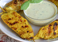 Chicken Satay with Coconut Curry Sauce