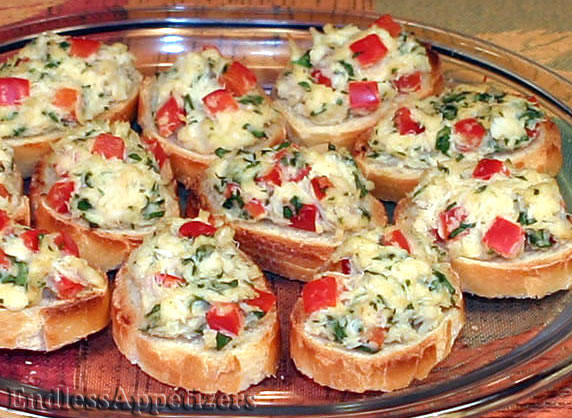 Crab crostini recipe with picture for Easy tailgating recipes for a crowd