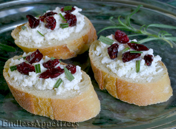 Cranberry and goat cheese canap s recipe with picture for Simple canape ideas