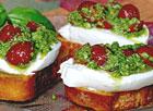 Pesto Cheese Crostini with Cherry Tomatoes