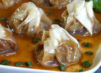 Pork Dumplings with Soy Mustard Vinaigrette